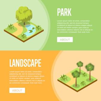 Bannière de conception de paysage parkland