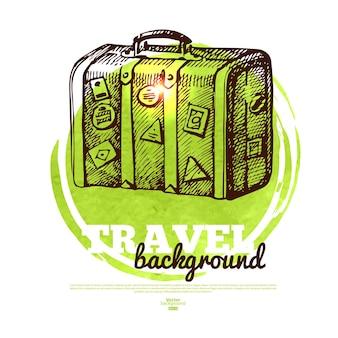 Bannière de conception tropicale de voyage. croquis dessinés à la main et illustration aquarelle