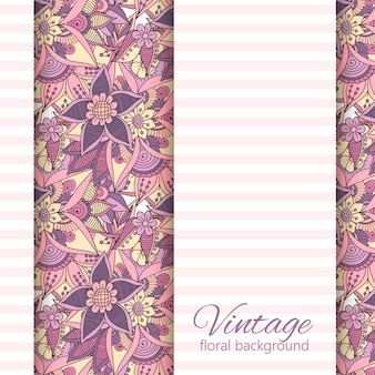Bannière de conception de vecteur avec des fleurs roses et violettes