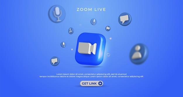 Bannière de conception de zoom avec fond bleu