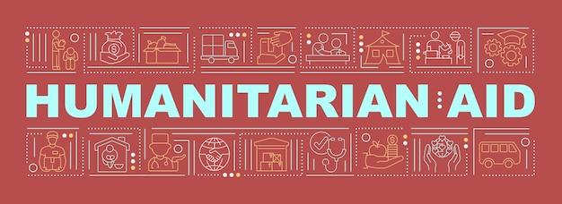 Bannière de concepts de mot d'aide humanitaire