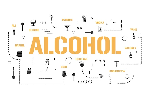 Bannière de concepts de mot alcool. différents types de boissons. infographie de boissons de haute qualité. présentation, site internet. idée ui ux. typographie de lettrage isolé avec des icônes de glyphe. plate illustration vectorielle.