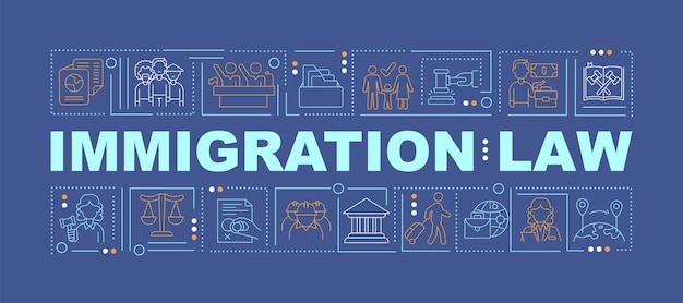 Bannière de concepts de mot bleu foncé droit de l'immigration. droits humains. infographie avec des icônes linéaires sur fond turquoise. typographie créative isolée. illustration de couleur de contour vectoriel avec texte