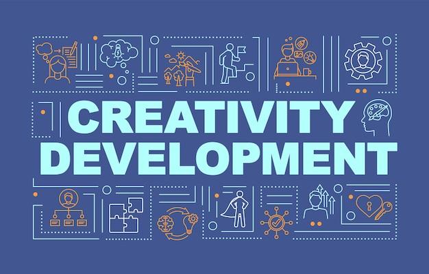 Bannière de concepts de mot bleu pour le développement de la créativité. pensée créative. infographie avec des icônes linéaires sur fond turquoise. typographie isolée. illustration de couleur rvb de contour vectoriel
