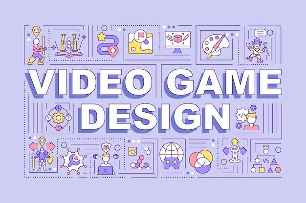 Bannière de concepts de mot de conception de jeux vidéo