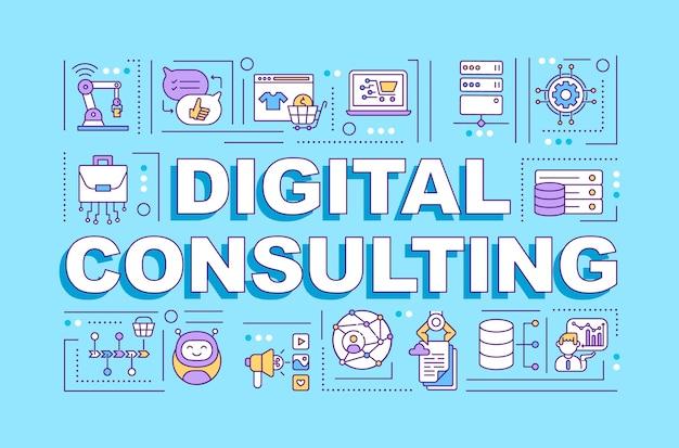 Bannière de concepts de mot de consultation numérique. infographie avec des icônes linéaires sur fond bleu.