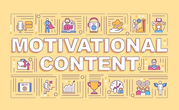 Bannière de concepts de mot contenu de motivation. inspirant pour briser les habitudes infographie avec des icônes linéaires sur fond orange. typographie isolée.