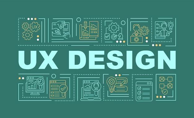 Bannière de concepts de mot design ux. interface utilisateur. intégration du produit. infographie avec des icônes linéaires sur fond vert. typographie créative isolée. illustration de couleur de contour vectoriel avec texte