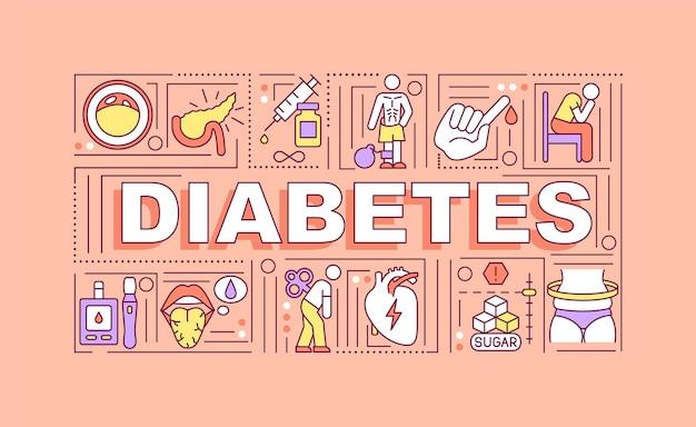 Bannière de concepts de mot diabète. traitement des maladies dangereuses. infographie avec des icônes linéaires sur fond corail.