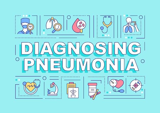 Bannière de concepts de mot de diagnostic de pneumonie