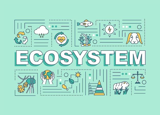 Bannière de concepts de mot écosystème. biodiversité, communauté d'organismes vivants. infographie avec des icônes linéaires sur fond turquoise. typographie isolée. illustration de couleur rvb de contour vectoriel