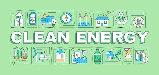 Bannière de concepts de mot énergie propre. réduire les émissions nocives. changement climatique.