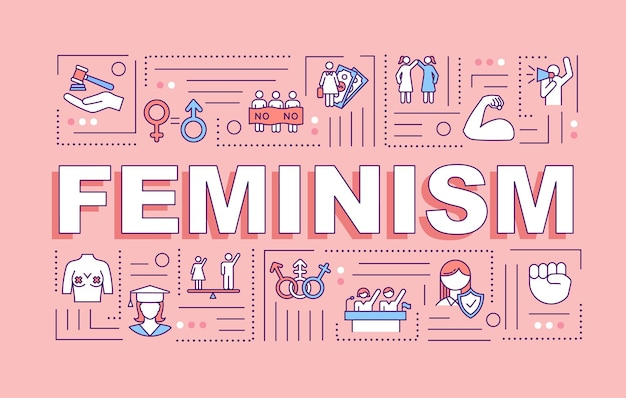 Bannière de concepts de mot féminisme. mouvement féministe. protection des droits des femmes. activisme. infographie avec des icônes linéaires sur fond rose. typographie isolée. illustration de couleur rvb de contour vectoriel