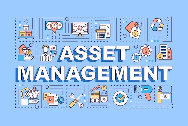 Bannière de concepts de mot de gestion d'actifs