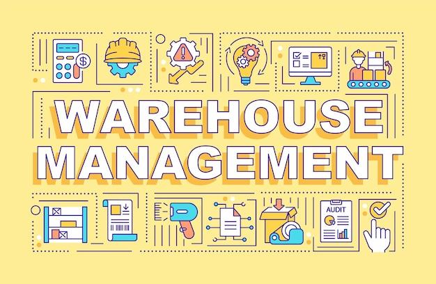 Bannière de concepts de mot de gestion d'entrepôt