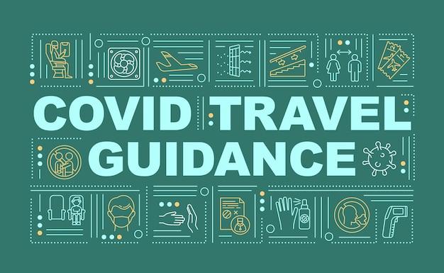 Bannière de concepts de mot guide voyage covid
