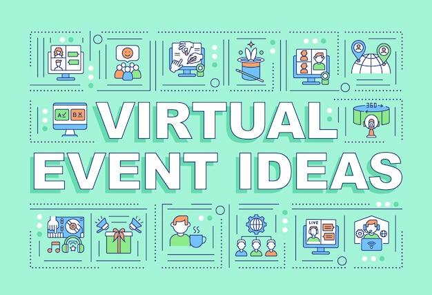 Bannière de concepts de mot idées d'événement virtuel