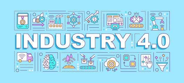 Bannière de concepts de mot de l'industrie 4.0. connexion et adressage via iot. infographie avec des icônes linéaires sur fond bleu. typographie isolée. quatre révolution. contour illustration couleur rvb