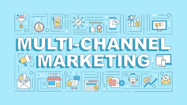 Bannière de concepts de mot marketing multicanal