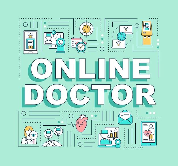 Bannière de concepts de mot médecin en ligne