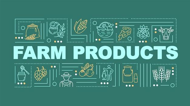 Bannière de concepts de mot produit agricole. produits laitiers et blé, aliments naturels. infographie avec des icônes linéaires sur fond vert jaune. typographie isolée. illustration de couleur rvb de contour vectoriel