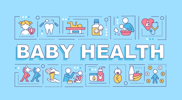 Bannière de concepts de mot de santé de bébé. santé mentale et physique. infographie avec des icônes linéaires sur fond bleu. typographie créative isolée. illustration de couleur de contour vectoriel avec texte