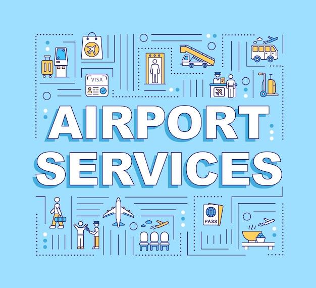 Bannière de concepts de mot de services d'aéroport. vols commerciaux, infographie de transport aérien avec icônes linéaires sur fond bleu. typographie isolée. illustration de couleur rvb de contour vectoriel