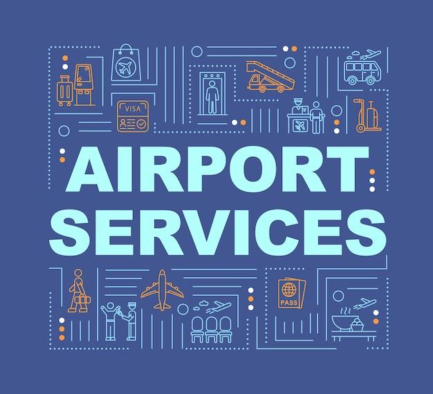 Bannière de concepts de mot de services d'aéroport. vols commerciaux, infographie de voyage en avion avec des icônes linéaires sur fond bleu. typographie isolée. illustration de couleur rvb de contour vectoriel