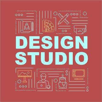Bannière de concepts de mot studio de conception. travail en entreprise en interne. lieu de travail à distance. infographie avec des icônes linéaires sur fond rouge. typographie isolée. illustration de couleur rvb de contour vectoriel