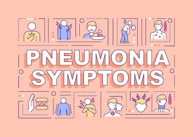 Bannière de concepts de mot de symptômes de pneumonie