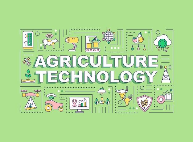 Bannière de concepts de mot technologie agriculture. agriculture intelligente.