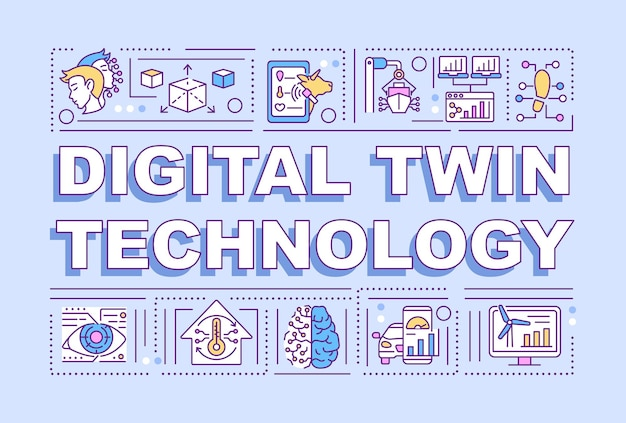 Bannière de concepts de mot technologie jumelle numérique. ordinateurs intelligents. infographie avec des icônes linéaires sur fond violet. typographie créative isolée. illustration de couleur de contour vectoriel avec texte