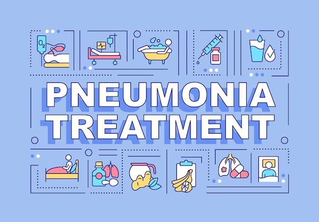 Bannière de concepts de mot de traitement de pneumonie