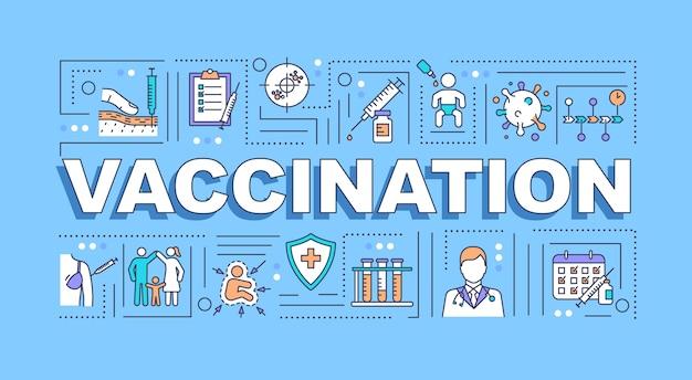 Bannière de concepts de mot de vaccination