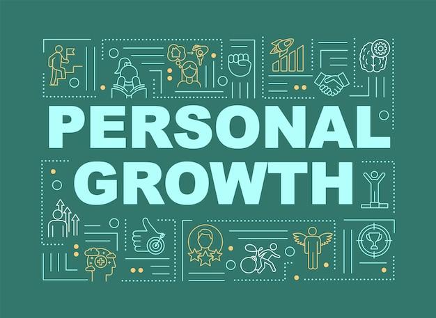 Bannière de concepts de mot vert de croissance personnelle. développement personnel et amélioration individuelle. infographie avec des icônes linéaires sur fond menthe. typographie isolée. illustration de couleur rvb de contour vectoriel