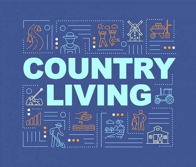 Bannière de concepts de mot vie de pays