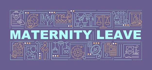 Bannière de concepts de mot violet de congé de maternité. occupez-vous de l'enfant. infographie avec des icônes linéaires sur fond violet. typographie créative isolée. illustration de couleur de contour vectoriel avec texte
