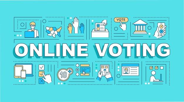 Bannière de concepts de mot de vote en ligne