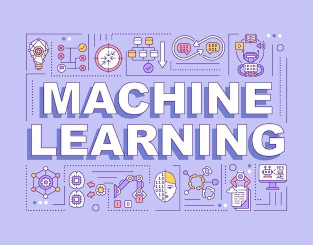Bannière de concepts de mots d'apprentissage automatique