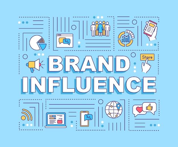 Bannière de concepts de mots d'influence de marque. la notoriété et la crédibilité de l'entreprise. infographie avec des icônes linéaires sur fond bleu. typographie isolée. illustration de couleur rvb de contour vectoriel