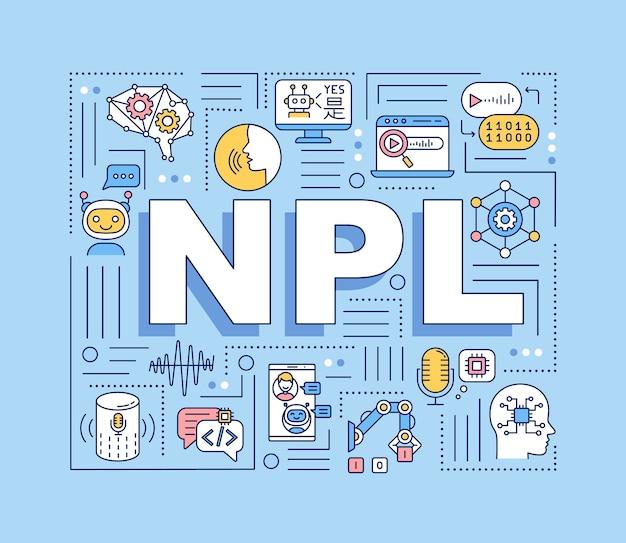 Bannière de concepts de mots npl