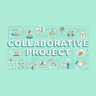 Bannière de concepts de mots de projet collaboratif. studio de design. partenariat pour le projet de travail. infographie avec des icônes linéaires sur fond menthe. typographie isolée. illustration de couleur rvb de contour vectoriel