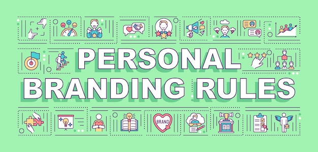 Bannière de concepts de mots de règles de marque personnelle