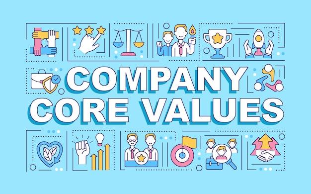 Bannière de concepts de mots de valeurs fondamentales de l'entreprise