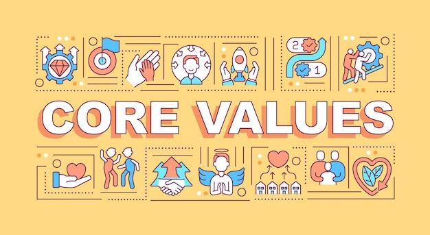 Bannière de concepts de mots de valeurs fondamentales