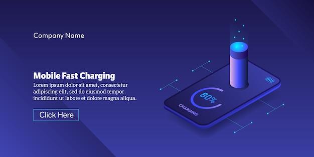 Bannière conceptuelle de charge rapide mobile
