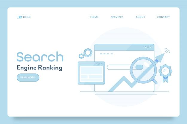 Bannière conceptuelle de classement des moteurs de recherche