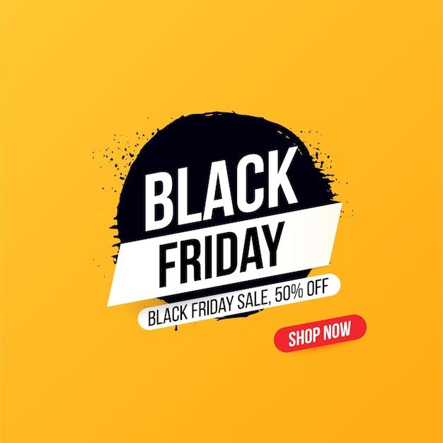 Bannière concise avec bouton pour les ventes et les remises le black friday.