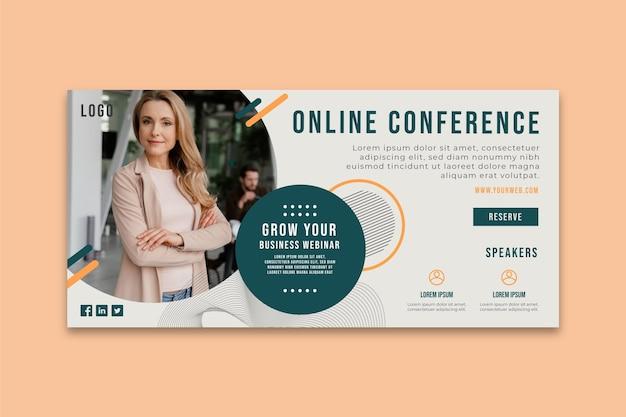 Bannière de conférence en ligne sur les affaires générales