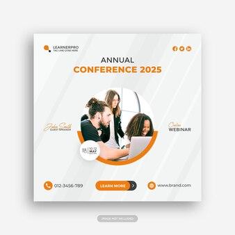 Bannière de conférence de webinaire d'entreprise de marketing numérique ou publication sur les réseaux sociaux d'entreprise